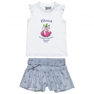 Set top with strass & shorts made of waffle poplin (2-5 years)