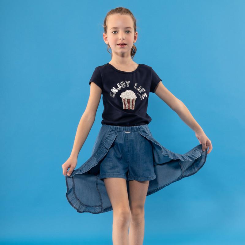 Φούστα τζιν με ενσωματωμένο σορτς (6-14 ετών)