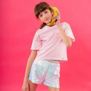 Σορτς σε ιριδίζον χρώμα με all over παγιέτες (6-14 ετών)