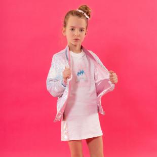 Φόρεμα σε ίσια γραμμή με ιριδίζον σιελ παγιέτες (6-14 ετών)