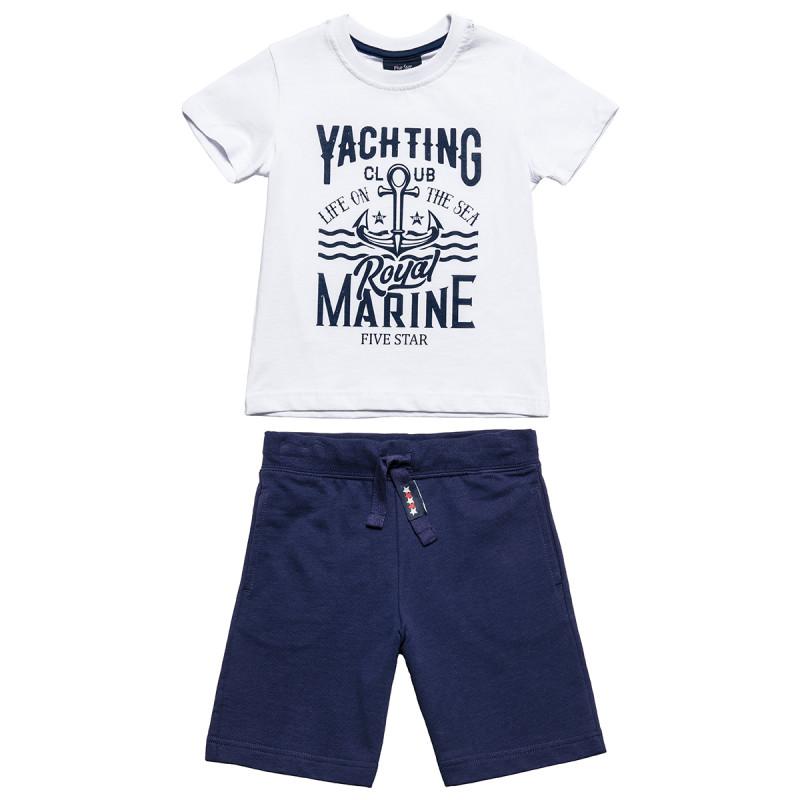 """Σετ μπλούζα μπλούζα """"Yachting club"""" με βερμούδα (12 μηνών-5 ετών)"""