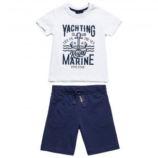 "Set 100% cotton top ""Yachting club"" & shorts (6-16 years)"