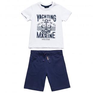 """Σετ βαμβακερό μπλούζα """"Yachting club"""" με βερμούδα (6-16 ετών)"""
