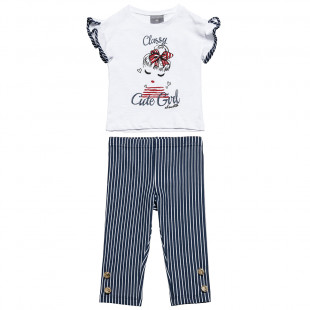Set top with glitter details & leggings with gold buttons (12 months-5 years)