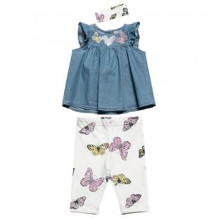 Σετ μπλούζα τζιν με κολάν και κορδέλα με πεταλούδες (6-18 μηνών)