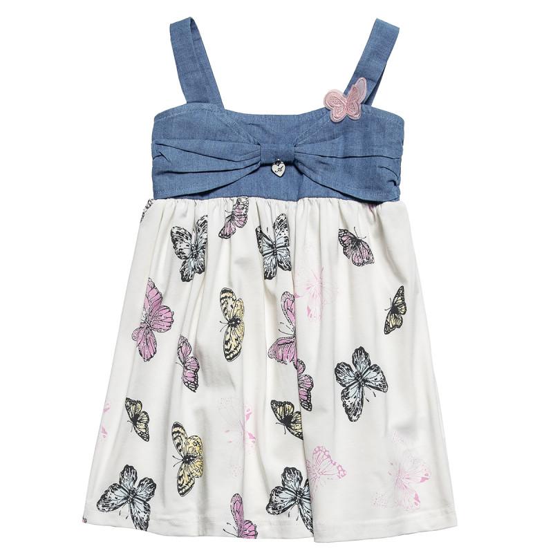 Φόρεμα με τζιν λεπτομέρεια και σχέδιο πεταλούδες (18 μηνών-5 ετών)