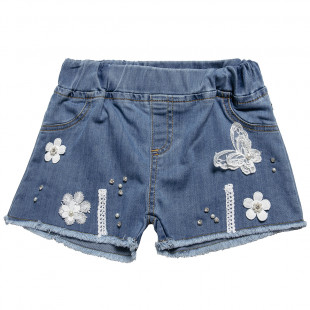 Denim shorts with embroidery and pearls (2-5 years)