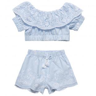Σετ μπλούζα και σορτς με ρίγες και διάτρητα κεντήματα (6-12 ετών)