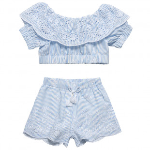 Striped Set top & shorts with embroidery (6-12 years)