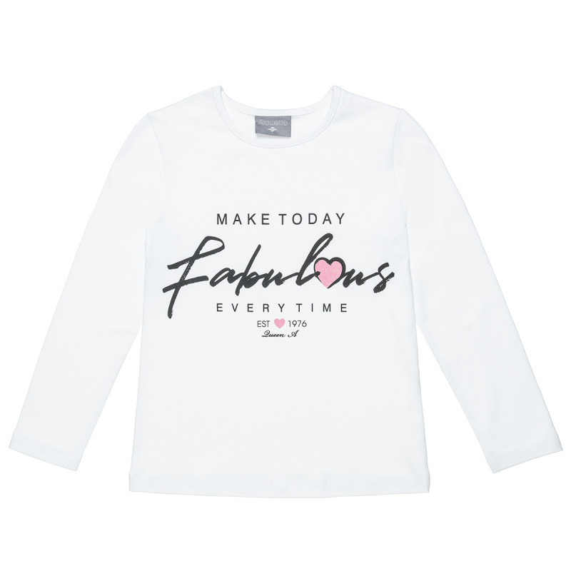 """Long Sleeve Top woth print """"Fabulous"""" and glitter details (6-16 years)"""