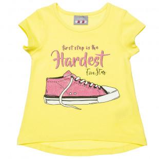 """Μπλούζα Five Star με σχέδιο """"First step is the hardest"""" με glitter (2-5 ετών)"""