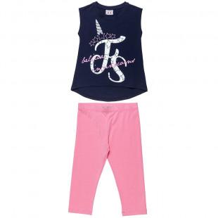 Σετ Five Star μπλούζα με glitter λεπτομέρειες και unicorn σχέδιο και κολάν (6-16 ετών)