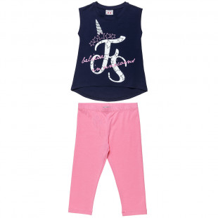 Set Five Star top with glitter details and unicorn design and leggings (6-16 years)