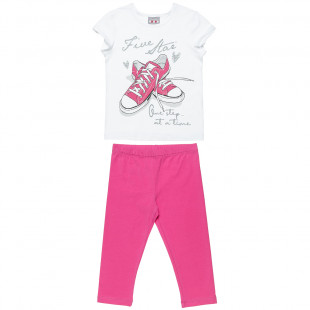 Set Five Stars top with glitter details and leggings (6-16 years)