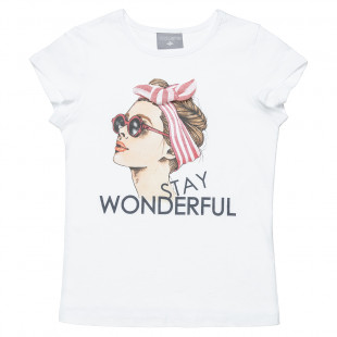 Top featuring a girl decorated with a bow (6-16 years)