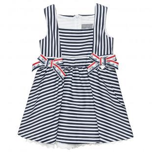 Φόρεμα σε navy look με διακοσμητικούς φιόγκους (6 μηνών-5 ετών)