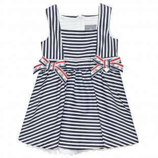 Navy stripe print dress with decorative bows (6 months-5 years)