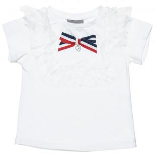 Μπλούζα με λεπτομέρειες απο τούλι και διακοσμητικό φιόγκο (2-5 ετών)