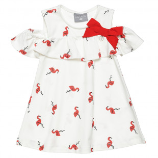 Dress with frilled shoulders and all over flamingo print (6 months-5 years)