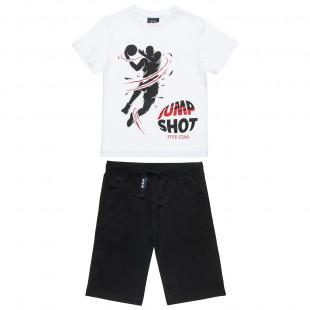"""Σετ Five Star μπλούζα με τύπωμα """"Jump shot"""" και βερμούδα (6-14 ετών)"""