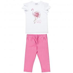 Σετ μπλούζα με glitter και γυαλιστερό κολάν (6-12 ετών)