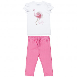 Set top with glitter details and shiny leggings (6-12 years)