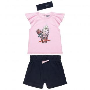 Σετ μπλούζα με παγιέτες, σορτς με κορδονάκι και κορδέλα μαλλιών (6-14 ετών)