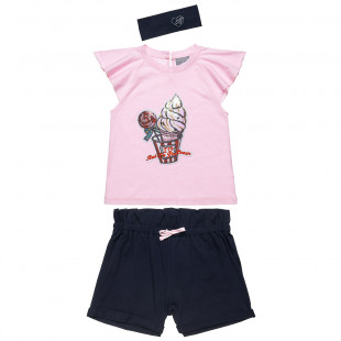Set sequin top, shorts and headband (6-14 years)