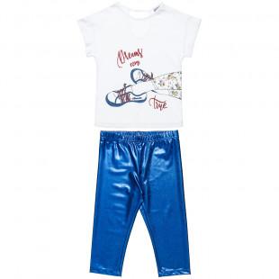 Σετ μπλούζα με glitter και άνοιγμα πίσω και γυαλιστερό κολάν (6-14 ετών)