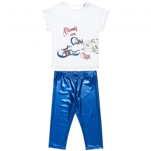 Set top with glitter and shiny leggings (6-14 yeas)