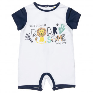 Smiley babygrow with print (1-9 months)