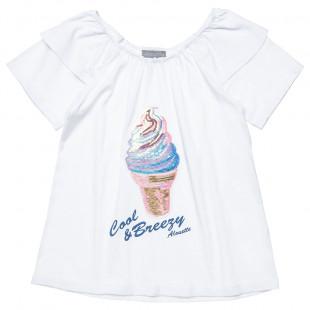 Μπλούζα με παγιέτες και βολάν στους ώμους (6-14 ετών)