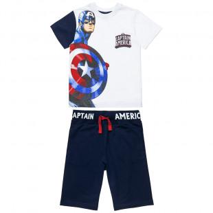 Σετ Avengers Captain America μπλούζα με τύπωμα και βερμούδα (4-10 ετών)