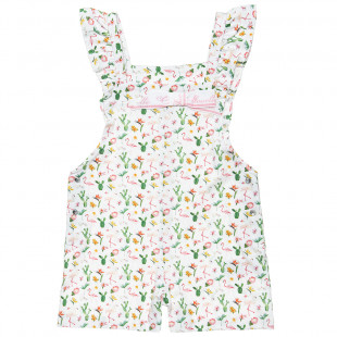 Playsuit with frilled shoulders and flamingo print (9 months-5 years)