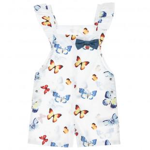 Ολόσωμη φόρμας σορτς με βολάν στα μανίκια και πλαϊνά κουμπάκια στρας (12 μηνών-5 ετών)