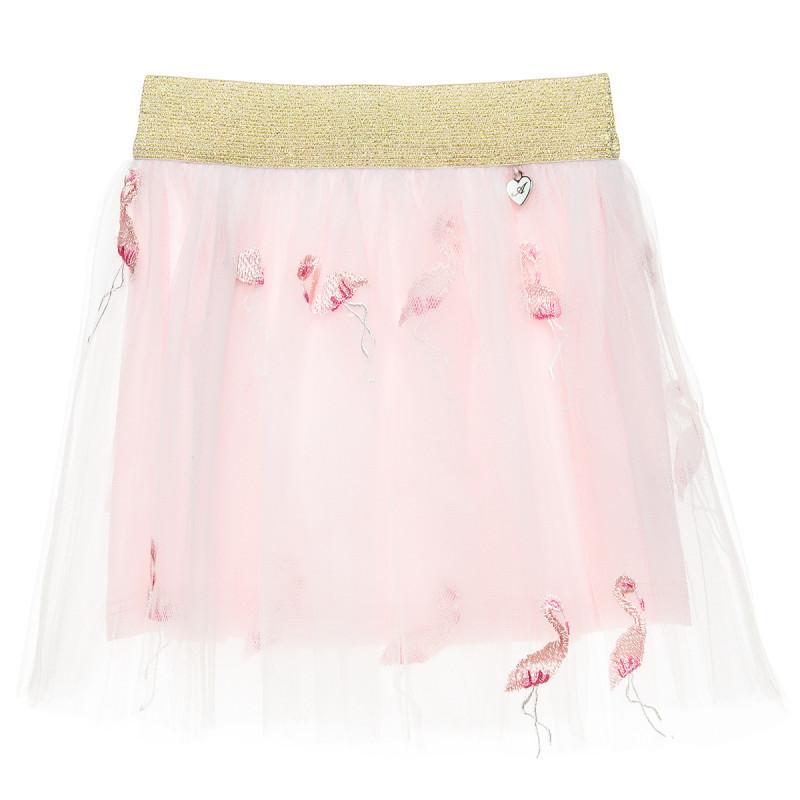 Φούστα με τούλι και κεντήματα σε σχέδιο flamingo (18 μηνών-5 ετών)