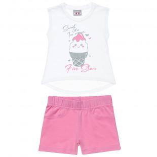 Σετ Five Star μπλούζα με glitter τύπωμα και σορτς (12 μηνών-5 ετών)