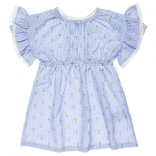 Dress with frilled shoulders and pineapple design (9 months-5 years)