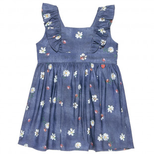 Sleeveless denim dress with frill trims and all over flower pattern (12 months-5 years)