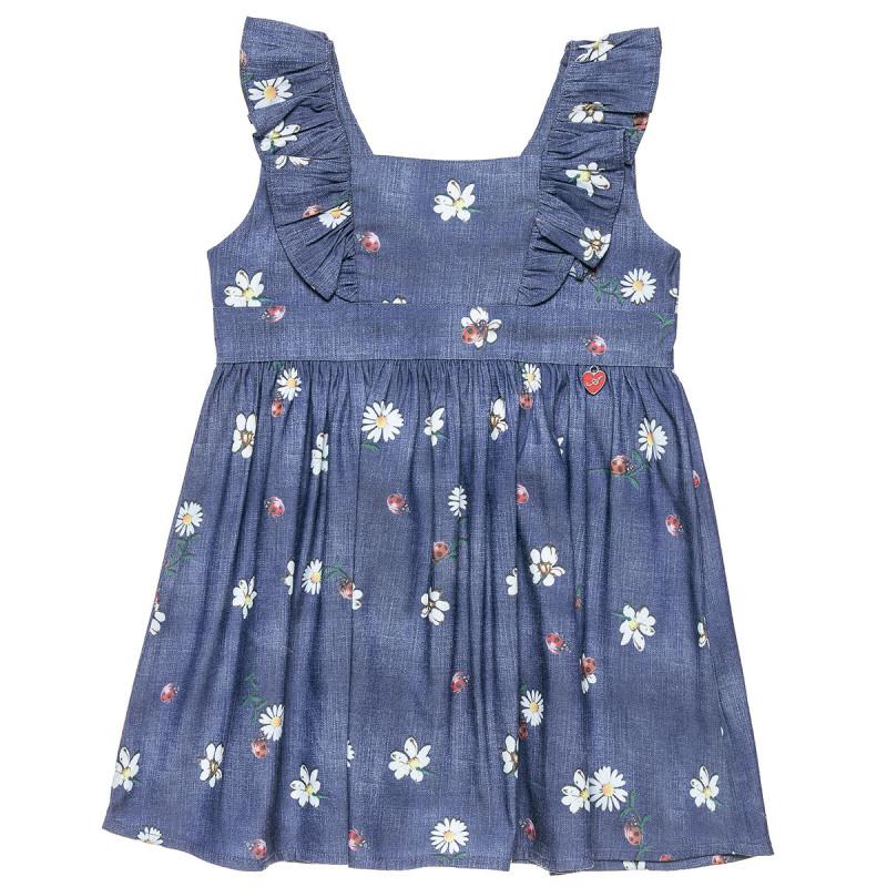 Φόρεμα τζιν με βολάν στους ώμους και σχέδιο με λουλουδάκια & πασχαλίτσες (12 μηνών-5 ετών)