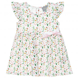 Floral dress with frilled shoulders (6 months-5 years)