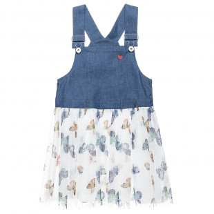 Tulle dress with straps with adjustable buttoning at the front (12 months-5 years)