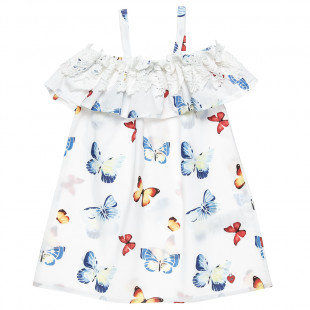 Cotton dress with broderie collar and butterfly pattern (12 months-5 years)