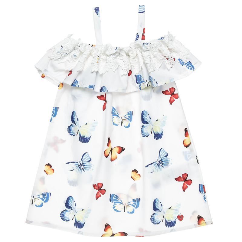 Φόρεμα απο 100% cotton σε Α γραμμή με βολάν και κέντημα στο πάνω μέρος (12 μηνών-5 ετών)