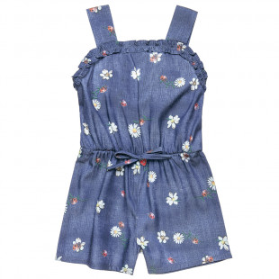 Denim playsuit with ladybug print (18 months-5 years)