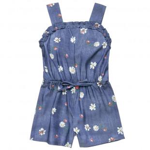Ολόσωμη τζιν φόρμας σορτς με πασχαλίτσες (18 μηνών-5 ετών)