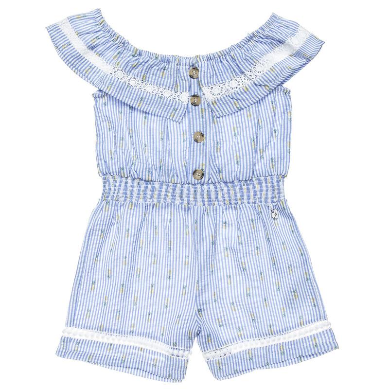Ολόσωμη φόρμα με γκοφρέ υφή με βολάν και διάτρητα κεντήματα (6-12 ετών)
