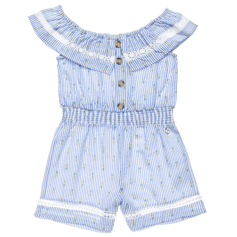 Playsuit with elasticated waist and broderie collar (6-12 years)