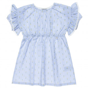 Dress with frilled shoulders and pineapple print (6-12 years)