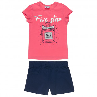 Set top with silver foil print and shorts (6-16 years)